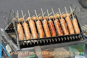 Skewered Sausages on the Grill